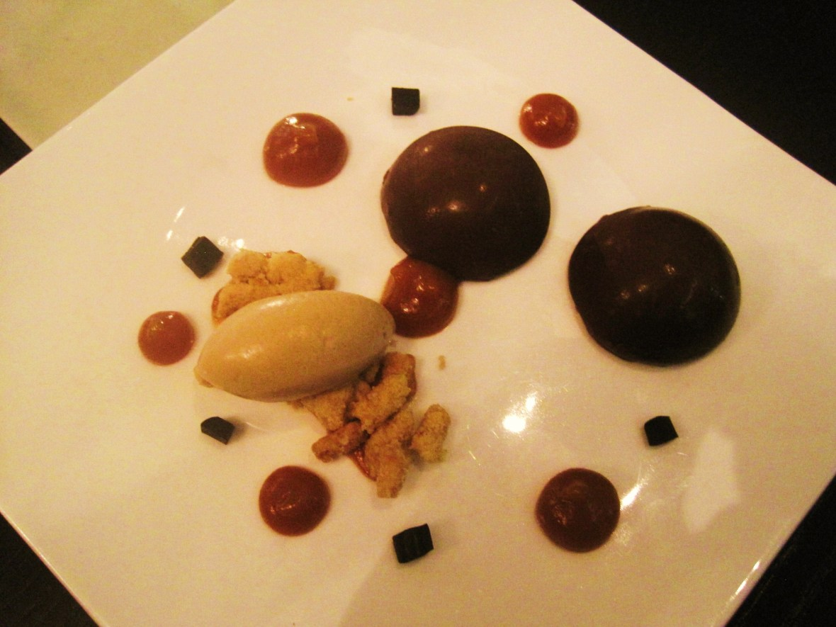 "Maze - the ""Pear Chiboust, Chocolate and Liquorice Icecream"""