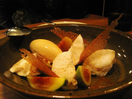 "The TownMouse - the ""Honey Figs, Poached Fig Meringue, Soured Orange Juice, Salted Caramel Ice Cream"""
